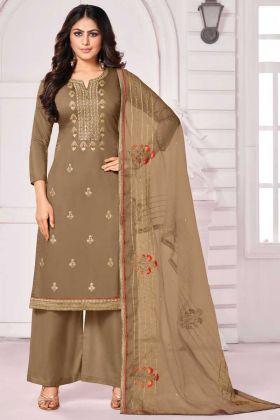 Pure Jam Cotton Semi Stitched Beige Color Salwar Suit