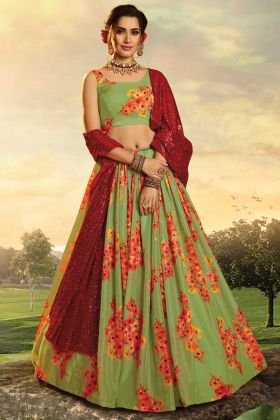 Pure Organza Fabric Green Lehenga Choli With Red Georgette Dupatta