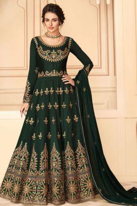 Pure Silk Dark Green Heavy Anarakali Dress For Ceremony Function