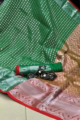 Pure Silk Weaving Green Color Saree For South Bridal Collection