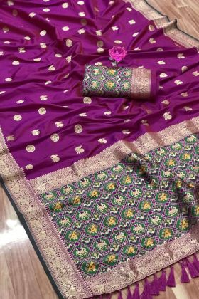 Pure Silk Wedding Saree In Purple Color For Upcoming Wedding
