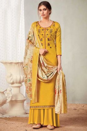 Pure Solid Zam Cotton Plazzo Style Yellow Salwar Suit