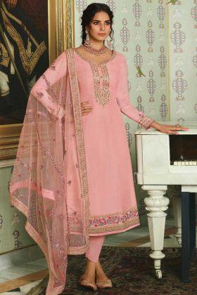 Pure Tussar Silk Peach Color Festive Wear Salwar Suit