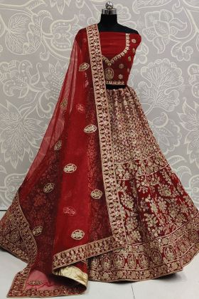 Pure Velvet Red Color Gorgeous Bridal New Lehenga Collection
