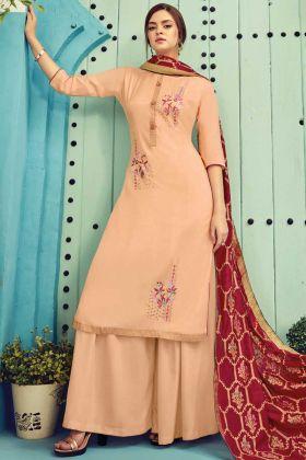Pure Viscose Maslin Designer Plazzo Suit In Cream Color