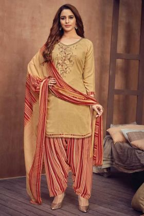 Pure Viscose Rayon Cream Color Heavy Panjabi Wedding Dress