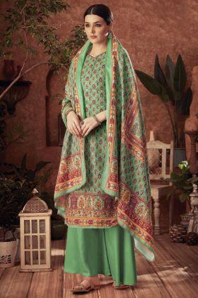 Pure Wool Pashmina Sea Green Digital Printed Plazzo Suit