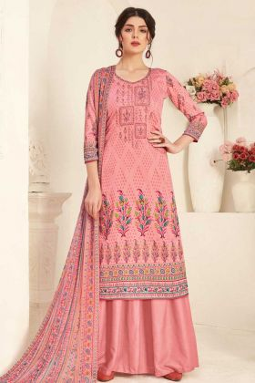 Pure Zam Cotton Peach Color Designer Plazzo Style Suit