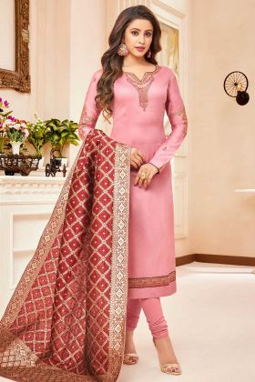Pure Cotton Jam Silk Straight Salwar Kameez Stone Work In Light Pink Color