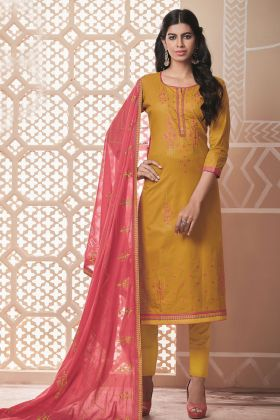 Pure Cotton Mustrad Salwar Kameez