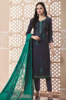 Pure Cotton Navy Blue Salwar Suit