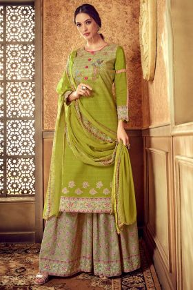 Pure Cotton Pakistani Dress Discharge Digital Printed Work In Green Color