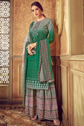 Pure Cotton Palazzo Salwar Kameez Discharge Digital Printed Work In Green Color