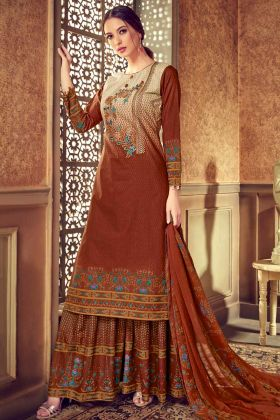 Pure Cotton Palazzo Salwar Kameez Discharge Digital Printed Work In Maroon Color