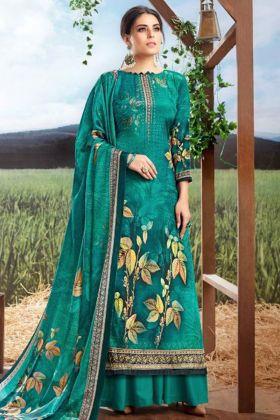 Pure Crepe Silk Palazzo Salwar Suit With Digital Print
