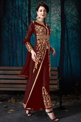Pure Faux Georgette Pant Style Dress Heavy Zari Embroidery Work In Maroon Color