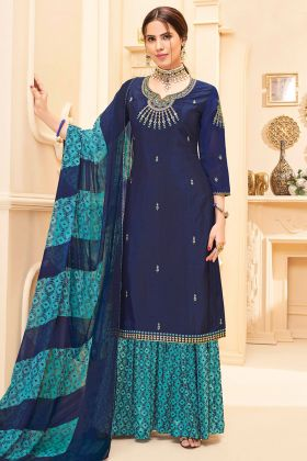 Pure French Crepe Pakistani Dress Embroidery Work In Navy Blue Color