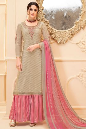Pure French Crepe Sharara Dress Embroidery Work In Beige Color