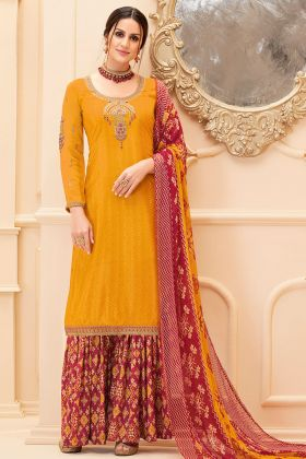 Pure French Crepe Sharara Dress Embroidery Work In Mustard Color