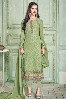 Pure Georgette Olive Straight Salwar Suit