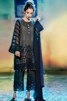 Pure Georgette Pakistani Dress Heavy Embroidery Work In Navy Blue Color