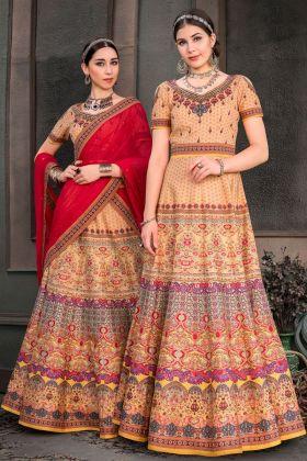 Pure Heritage Silk Beige Lehenga Dress