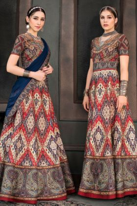 Pure Heritage Silk Multi Wedding Wear Lehenga Suit