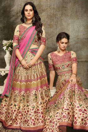 Pure Heritage Soft Silk Lehenga Choli In Pink Color With Heavy Gown