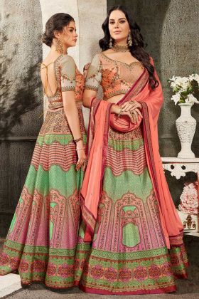Pure Heritage Soft Silk Wedding Lehenga Choli In Pink Color With Gown