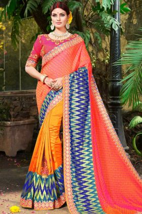 Pure Jacquard Party Wear Half and Half Saree Embroidery Work In Orange Color