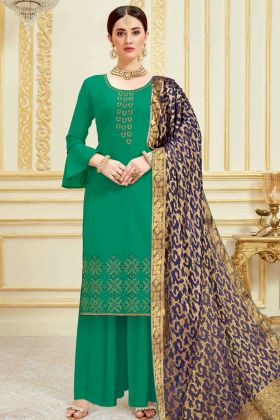 Pure Jam Satin Pakistani Dress In Green Color