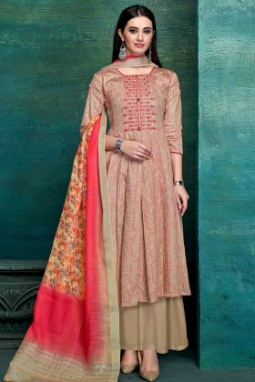 Pure Jam Satin Palazzo Suit With Pure Digital Printed Dupatta