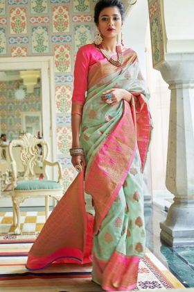 Pure Linen Silk Designer Saree With Green Color