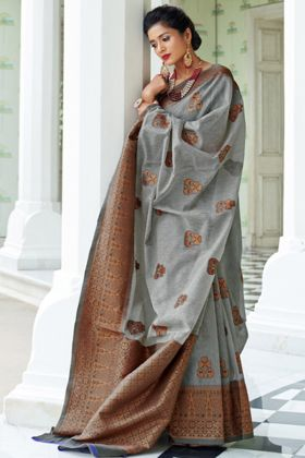 Pure Linen Silk Party Wear Saree With Grey Color