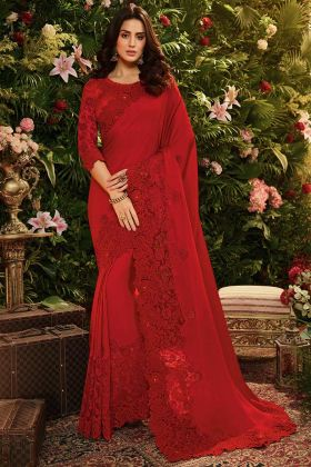 Pure Modal Satin Silk and Net Red Saree With Pearl Work