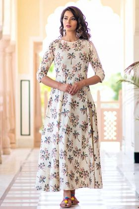 Pure Muslin Festive Gown Cream Color With Digital Print