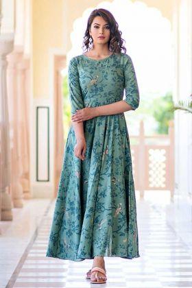 Pure Muslin Formal Gown Digital Print Light Aqua Color