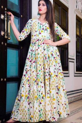 Pure Muslin Formal Gown Printed With Cream Color