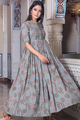 Pure Muslin Gown Style Anarkali Light Steel Blue Color