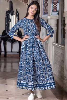Pure Muslin New Gown Style Anarkali Steel Blue Color