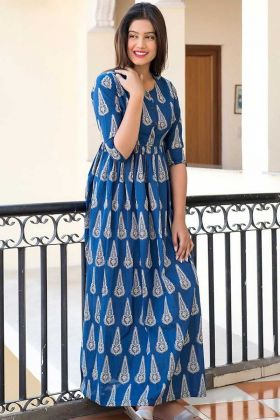 Pure Muslin Party Wear Gown In Digital Print Blue Color