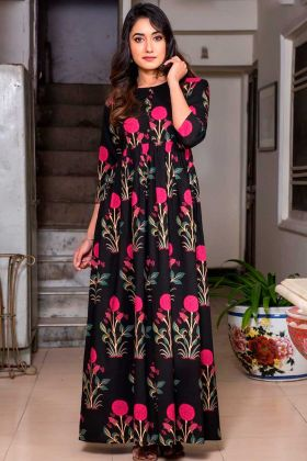 Pure Muslin Trendy Party Wear Gown Black Color In Printed