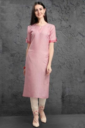Pure Organic Fancy Kurti Set Embroidery Work In Light Pink Color