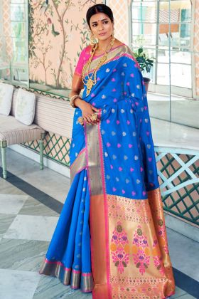 Pure Paithani Silk Party Wear Saree Self Weaving Work In Blue Color