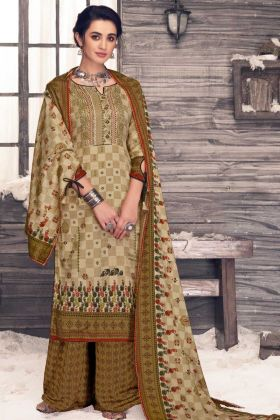 Pure Pashmina Un Stitched Casual Palazzo Suit Beige Color
