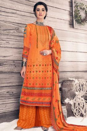 Pure Pashmina Designer Casual Palazzo Salwar Kameez Orange Color