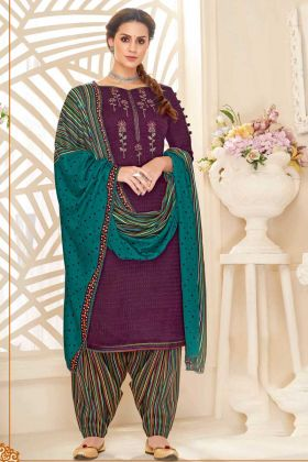 Pure Pashmina Designer Patiyala Salwar Kameez Purple Color