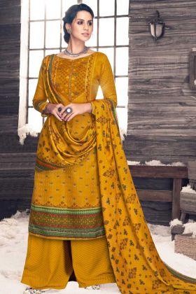 Pure Pashmina Palazzo Dress Material Printed Mustard Color