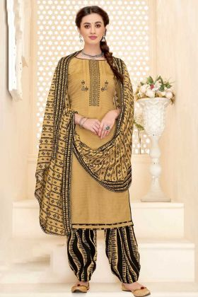 Pure Pashmina Patiala Salwar Kameez Beige Color With Jacquard Print
