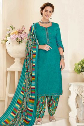 Pure Pashmina Patiala Salwar Suit In Embroidered Work Sea Green Color